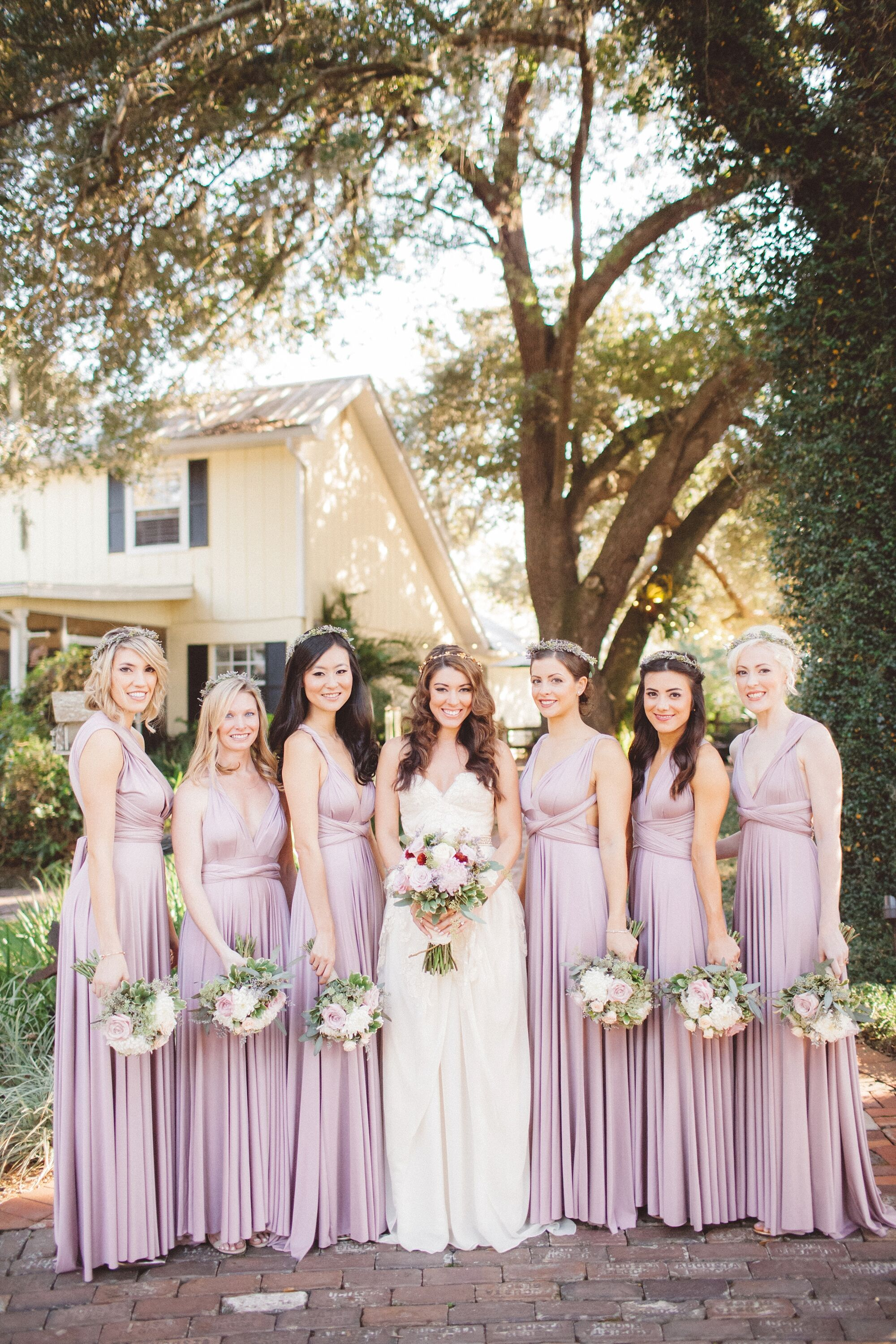 Sleeveless Empire Waist Mauve Bridesmaids Dresses