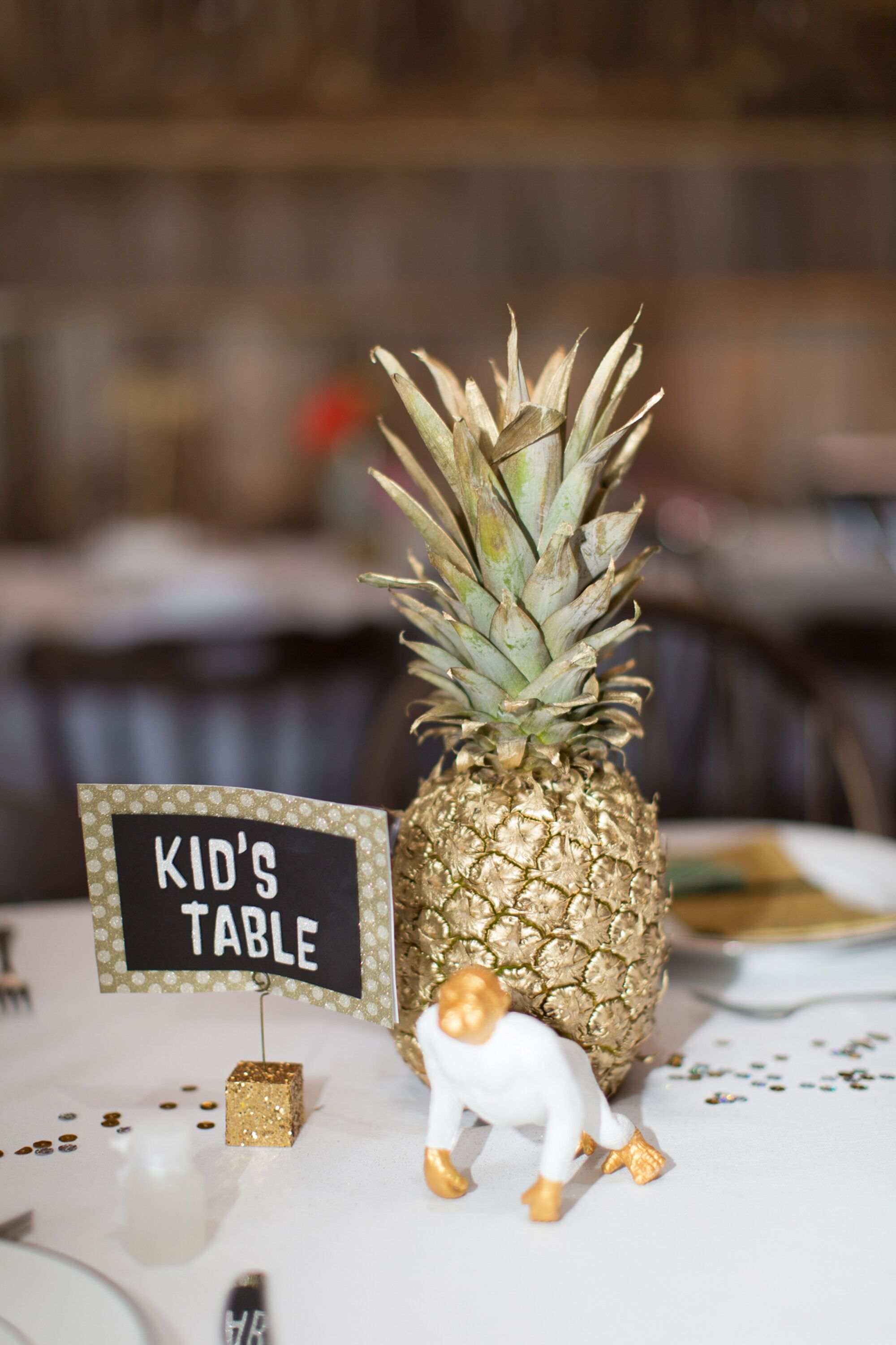 Gold Painted Pineapple Centerpiece