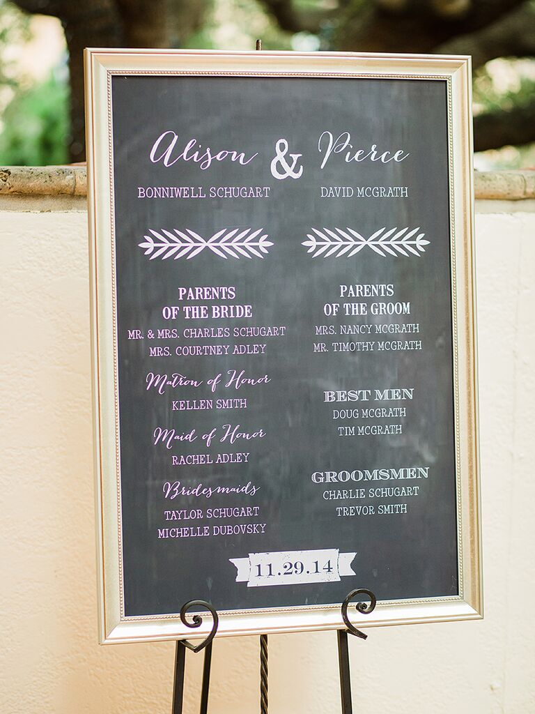 Ceremony Sign With The Wedding Party Names