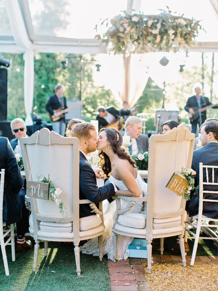Elegant High-Back Chairs with Wooden Mr. and Mrs. Signs