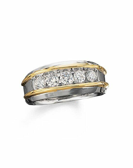 Zales Men's 1 CT. T.W. Diamond Five Stone Band in 10K Two-Tone Gold  18295584 Wedding Ring photo