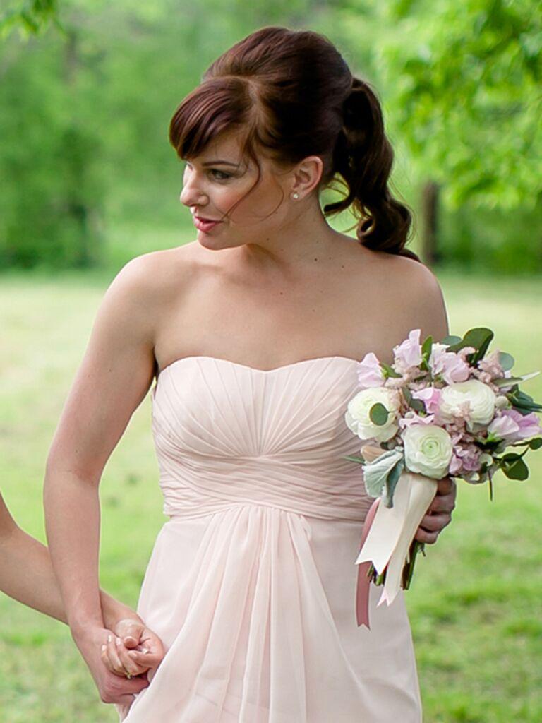 Cute Bridesmaid Hair Idea For A Strapless Dress