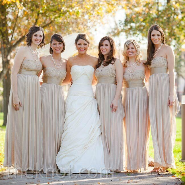 To Suit The Winter Wedding Date Blaire Chose Floor Length Champagne Colored Dresses