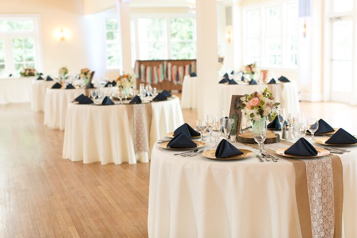 Reception With Burlap And Lace Table Runners And Navy And