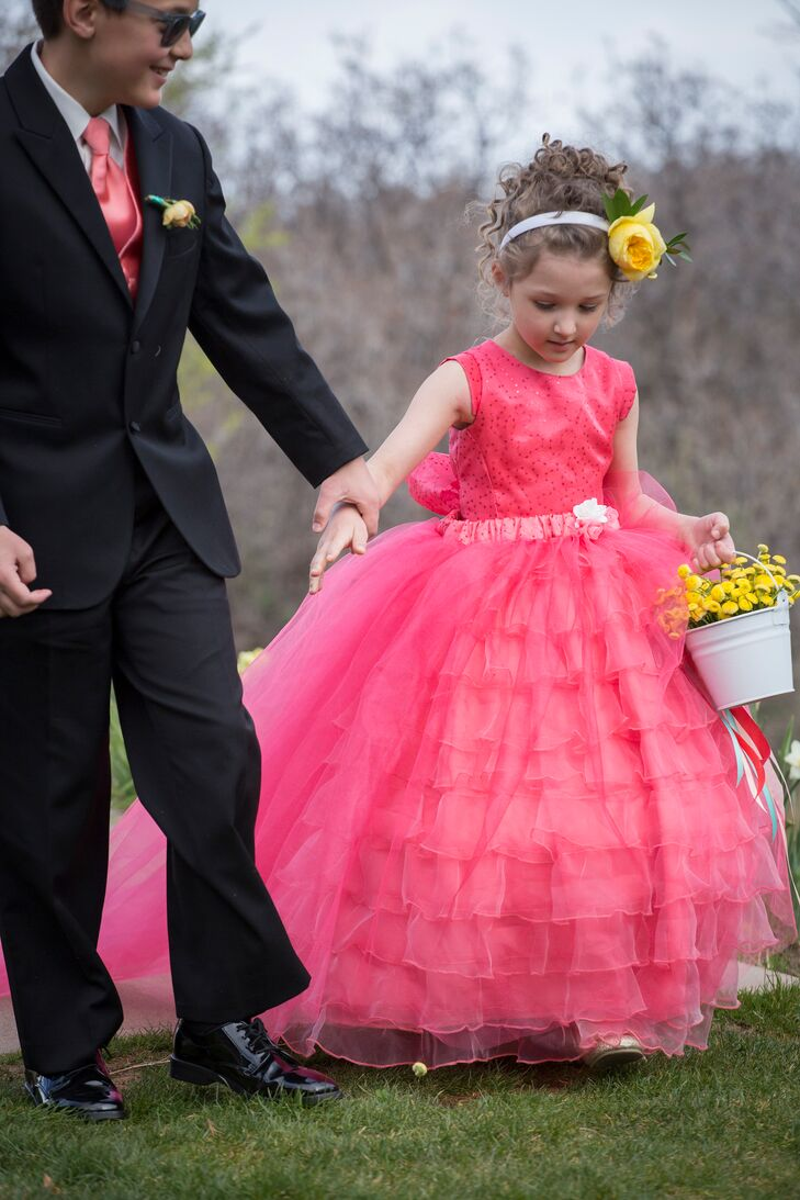 Bright bold pink tulle flower girl dress mightylinksfo