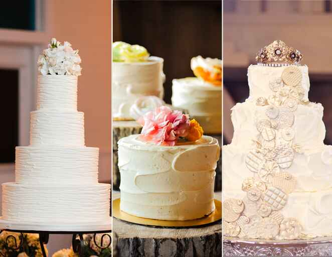 Buttercream rustic iced wedding cakes