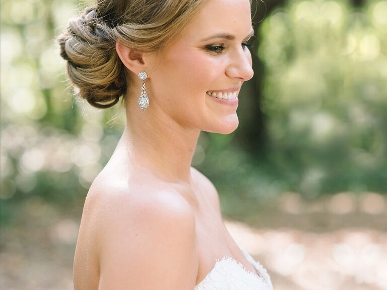 bride with low bun and natural makeup