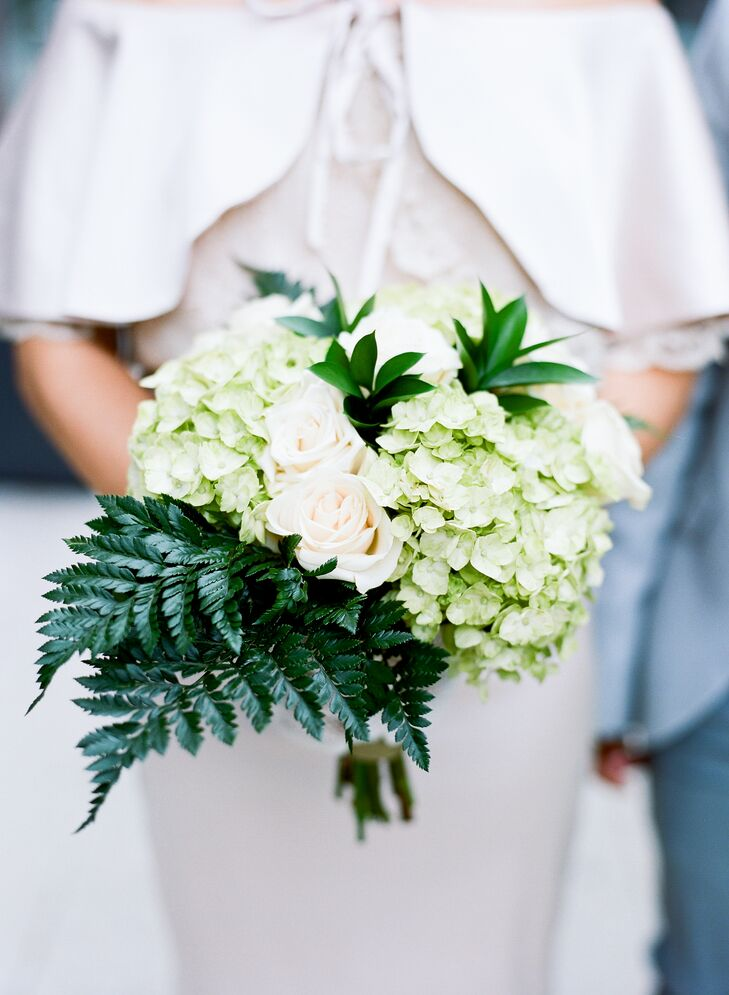 Diy Green Hydrangea And Fern Bouquet