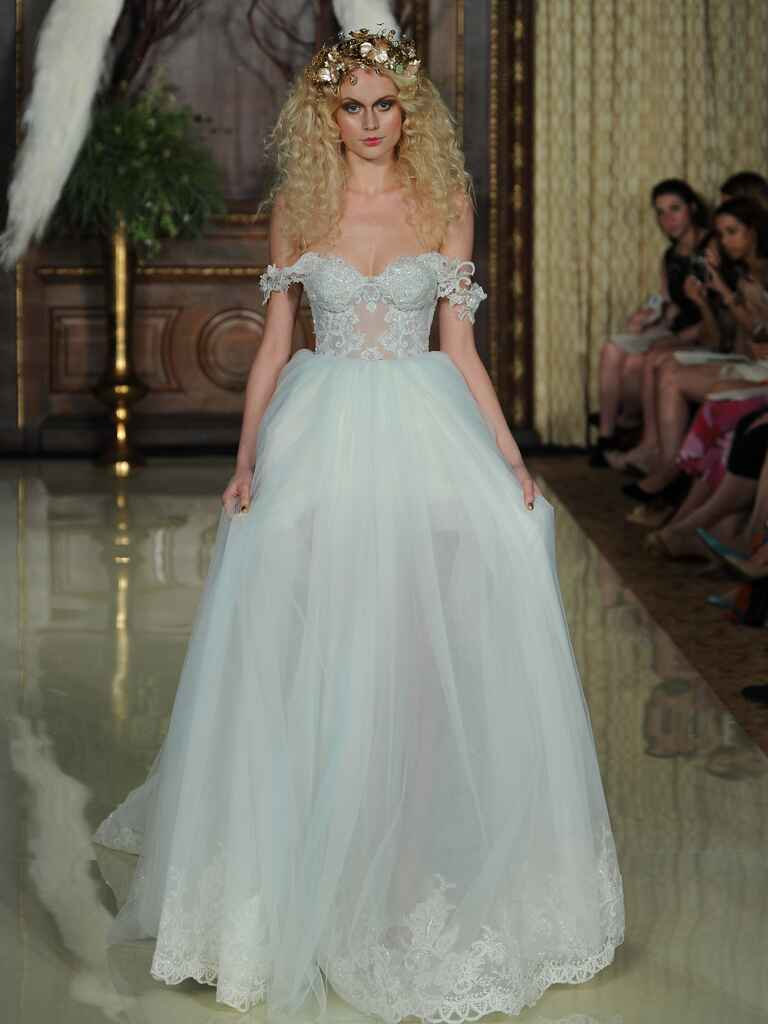 Galia Lahav cloud blue sheer corset with sheer tulle skirt wedding dress from Spring 2016