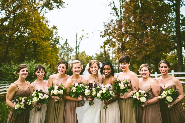 The bridesmaids dresses were inspired by a neutral palette and a shape that Sarah hoped would be comfortable and flattering on everyone.