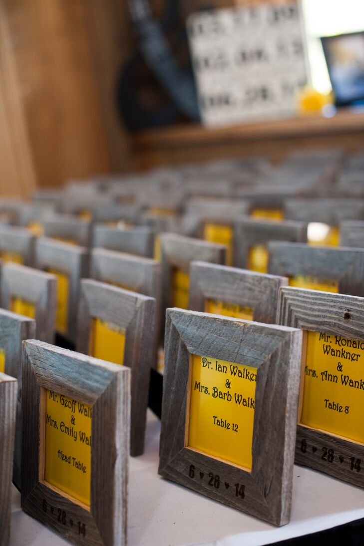 Jessica and Phil made custom wooden frames for their guests with the wedding date for the escort cards.