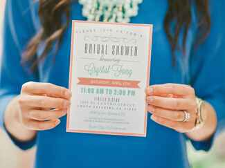 Peach and turquoise bridal shower invitation