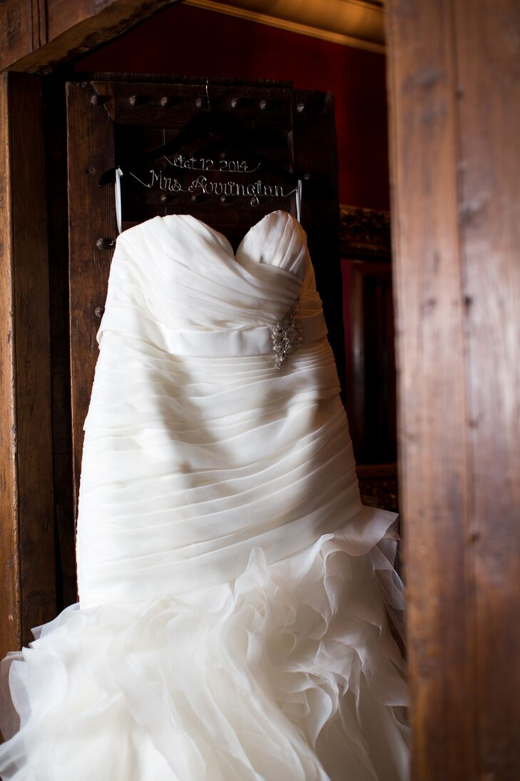 On the day of the wedding, Veronica wore a strapless wedding dress with ruffles at the bottom purchased at Cherry Blossom Bridal.