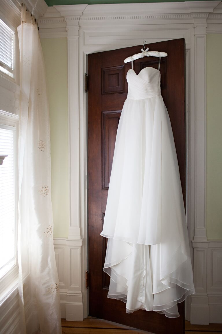 Hanging strapless wedding dress