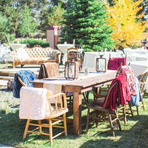 Vintage Couches And Chairs At Country Style Reception
