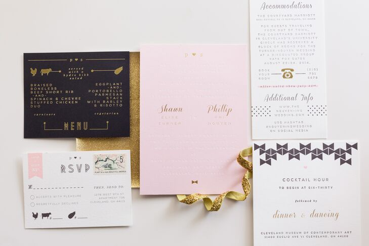 The couple used the color palette of white, black, gold and blush to create a retro design for wedding invitations.
