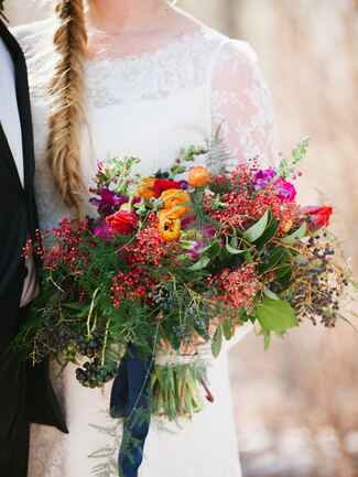 Rustic and wild fall wedding bouquet