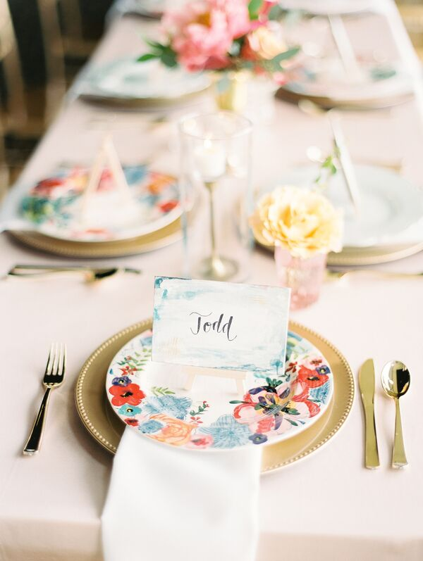 Painted Floral Plates and Watercolor Place Cards