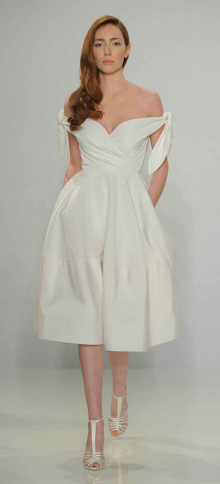Christian Siriano Spring 2017 off-the-shoulder tie wedding dress