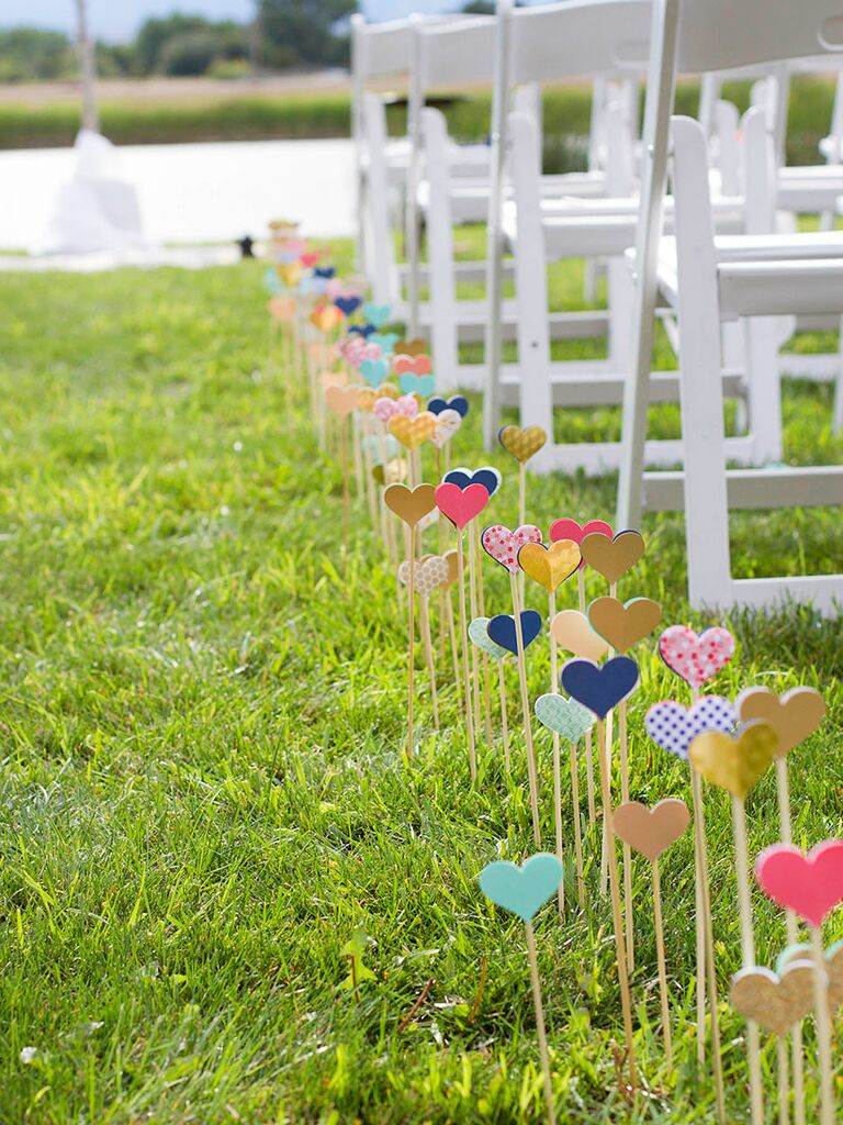 27 crafty diy wedding decorations diy wedding ceremony aisle decor with cut out hearts junglespirit Gallery