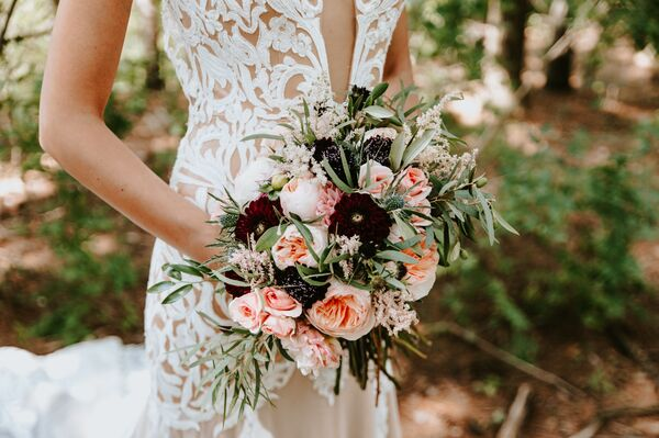 Textured Olive Leaf, Garden Rose and Scabiosa Bouquet