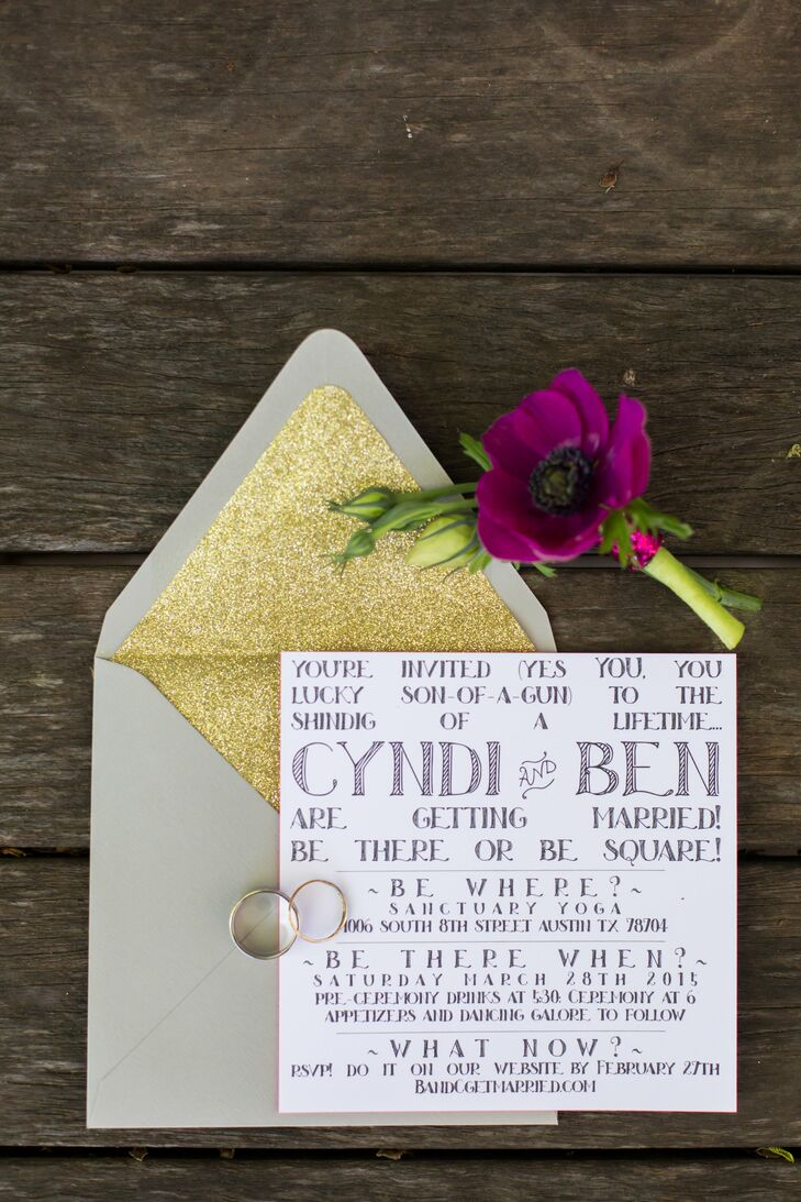 Custom Handwritten Wedding Invitations With Gold Lined
