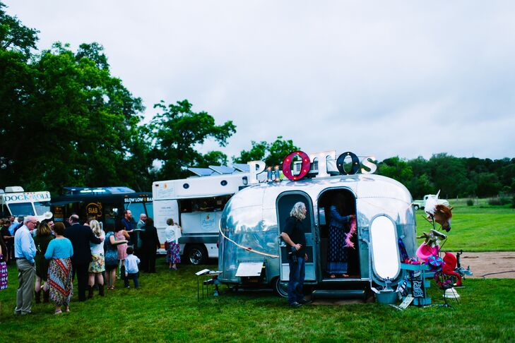 To continue the vintage theme, Paige and Matt brought in a vintage Airstream trailer to use as a photo booth. Guests donned silly props and enjoyed making memories here.