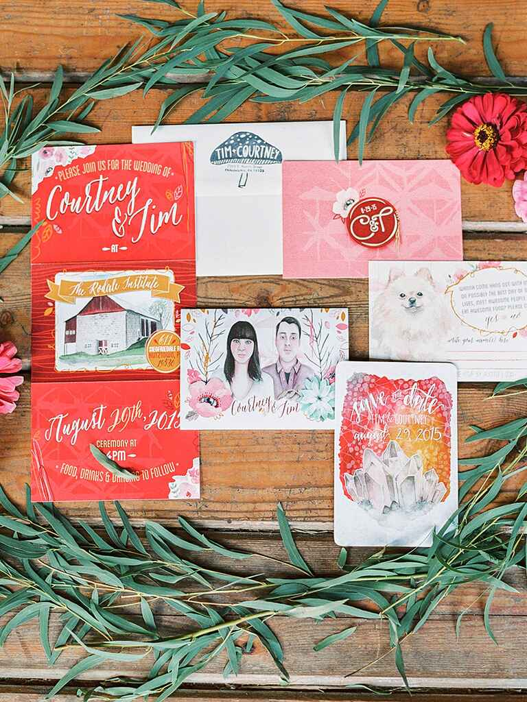 Bright and colorful invitation set with custom illustrations