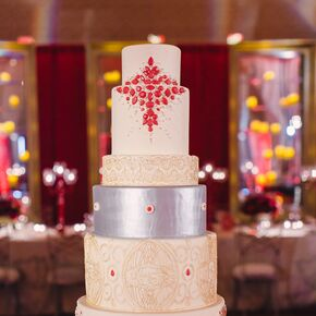 Silver Ivory And Red Seven Tier Cake