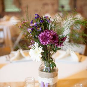 Rustic purple wedding centerpieces rustic centerpieces with purple chrysanthemums junglespirit Choice Image