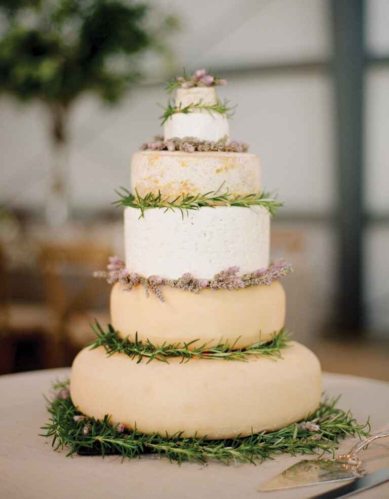 Wedding cake made out of tiers of cheese