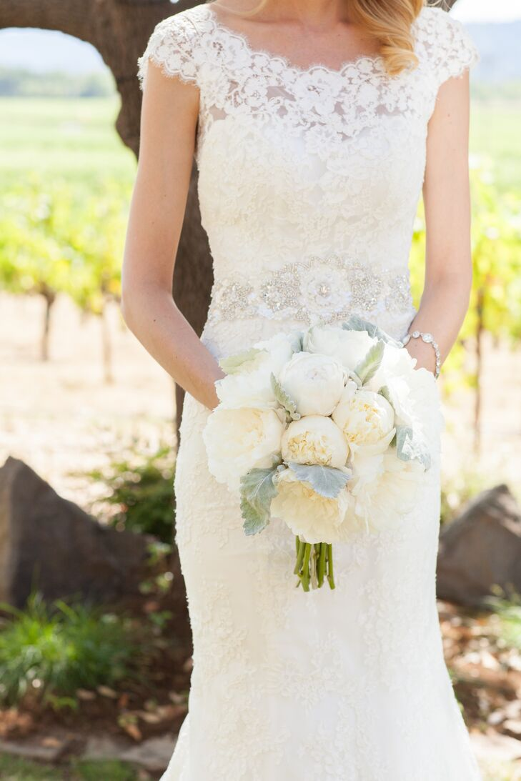 White Peony and Dusty Miller Bridal Bouquet