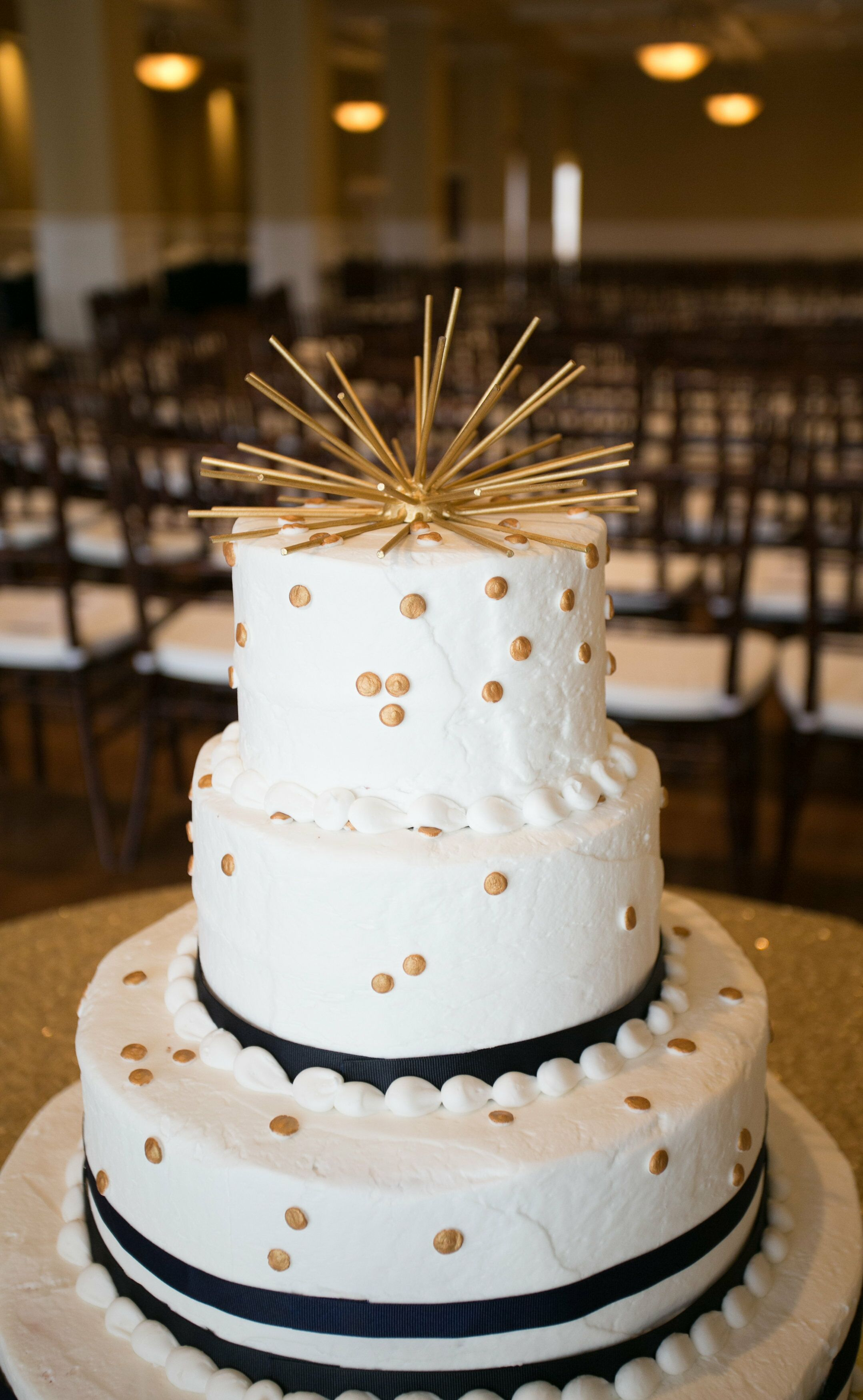 Modern Gold Polka Dot Buttercream Wedding Cake