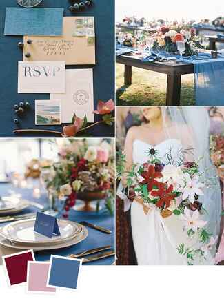 Maroon, cameo pink and aegean blue wedding color ideas