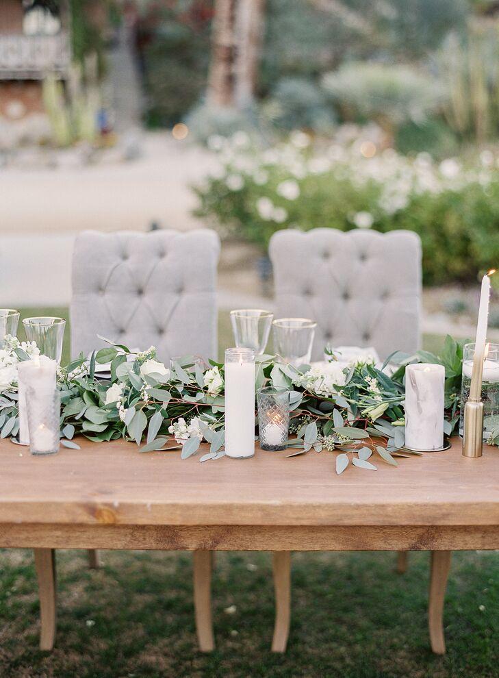 Rustic Farm Tables With Lush Eucalyptus Table Runner