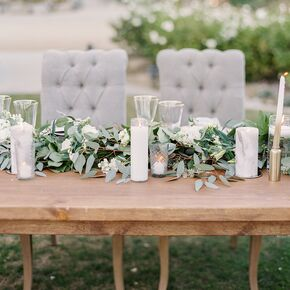 Natural wedding centerpieces rustic farm tables with lush eucalyptus table runner junglespirit Image collections