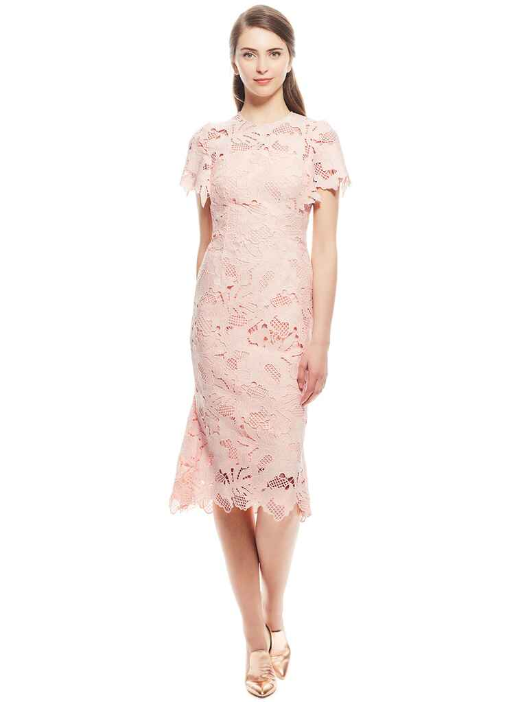Lela Rose leaf guipure lace ruffle skirt dress