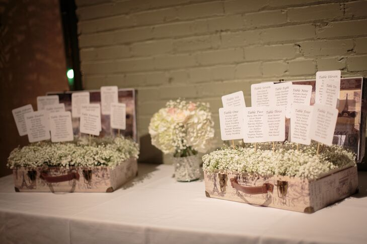 Roses, hydrangeas and baby's breath enveloped the ceremony and reception site as decoration and centerpieces throughout.