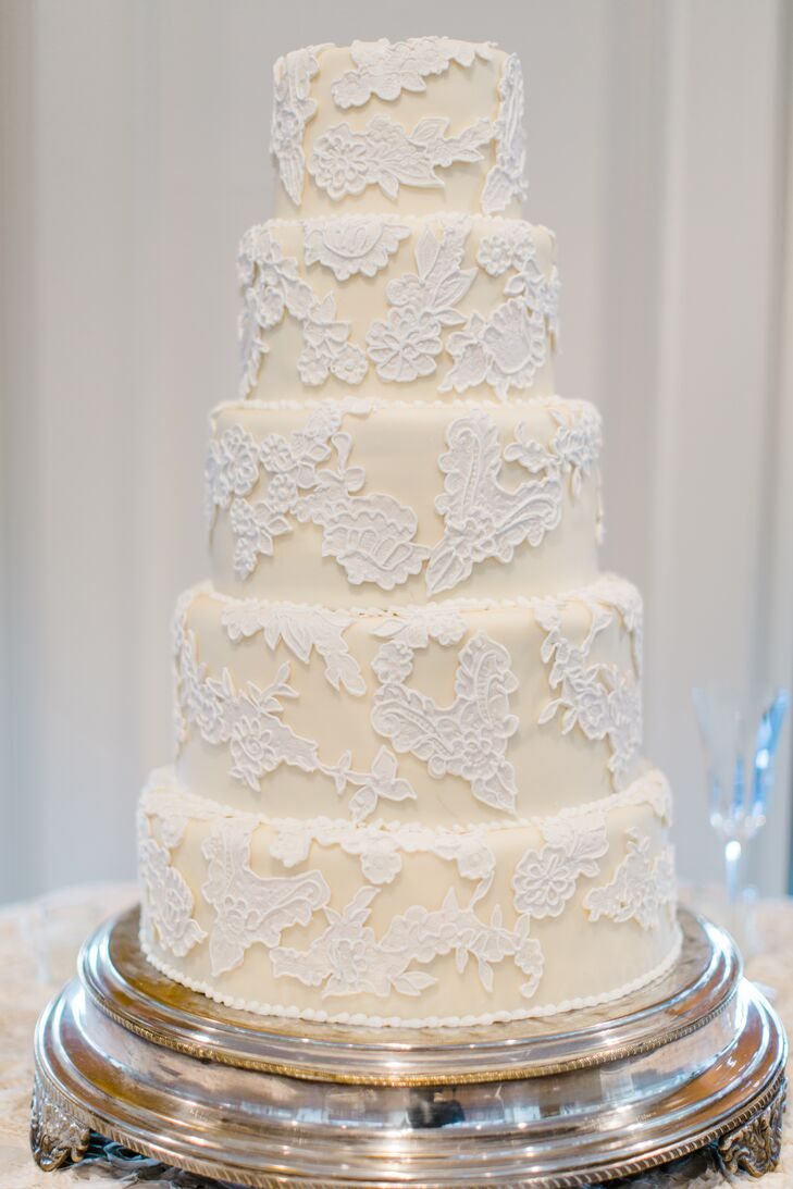 Simple Ivory Wedding Cake with Dress-Inspired Lace Detailing