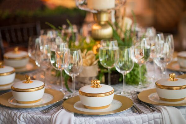 Formal Ivory and Gold Dinnerware