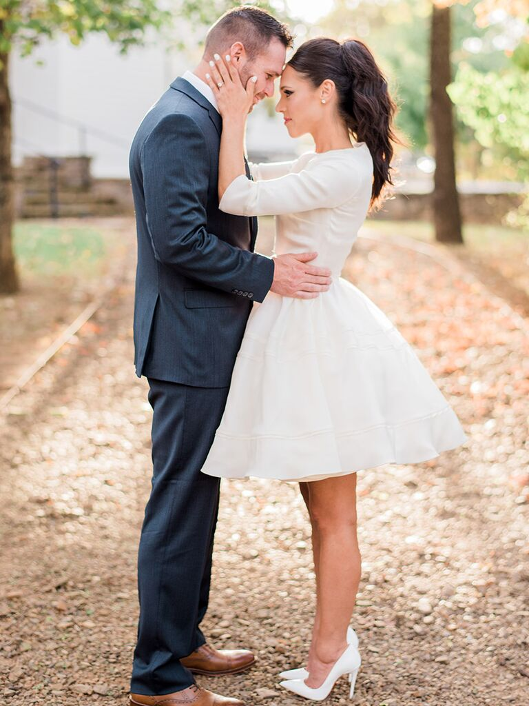 9 rules for accessorizing your wedding dress bride wearing a short dress ombrellifo Gallery