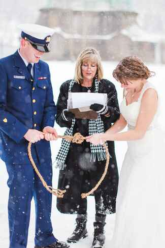 Knot Tying Ceremony with Officiant at a Winter Wedding