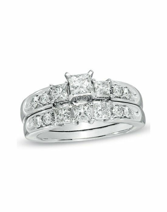 Zales 1-1/2 CT. T.W. Princess-Cut Diamond Three Stone Bridal Set in 14K White Gold Engagement Ring photo