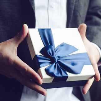 man with wedding gift