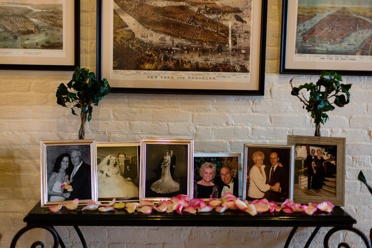 Victoria and Matthew included wedding portraits and pictures of their parents, step parents, and grandparents at the entrance to the reception space.