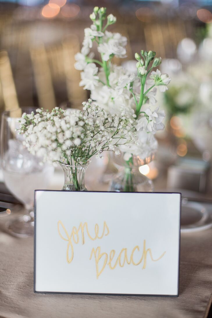 Gold Script Table Number With Black Border