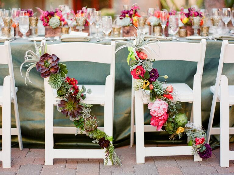 sweetheart chairs with air plants