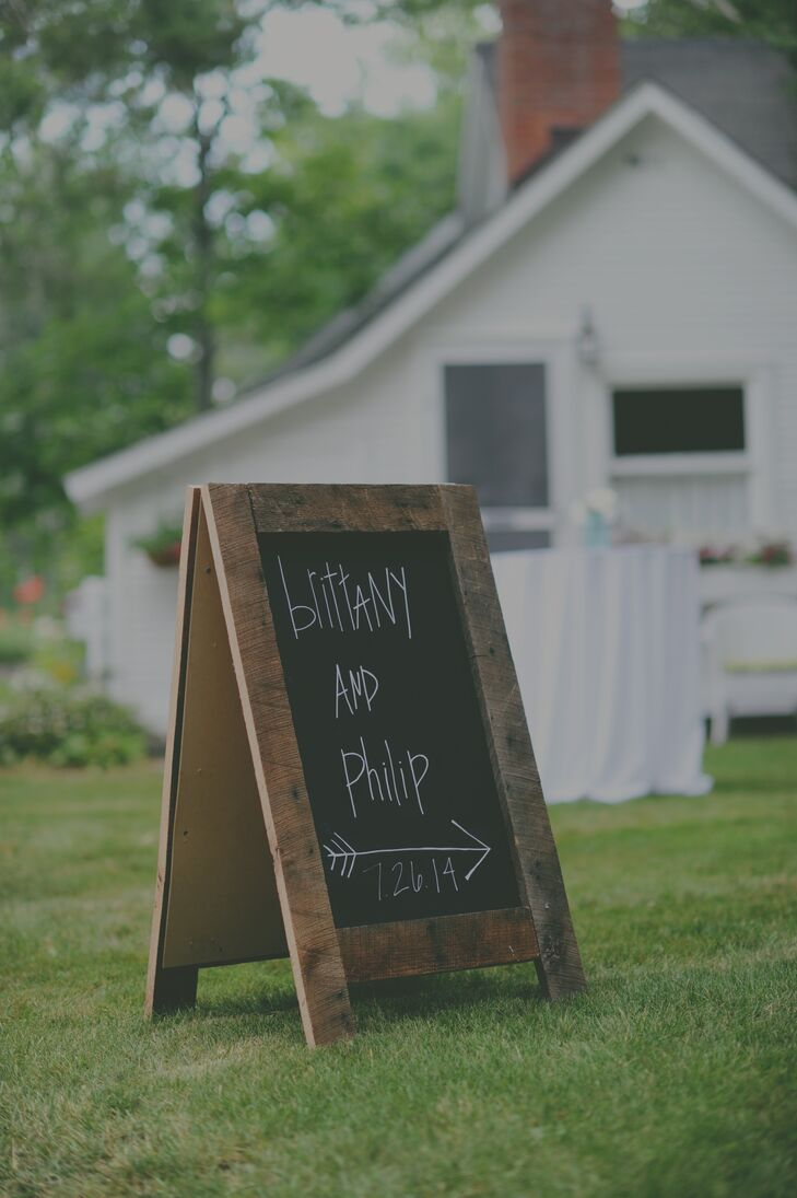 Brittany and Philip DIY Chalkboard Sign