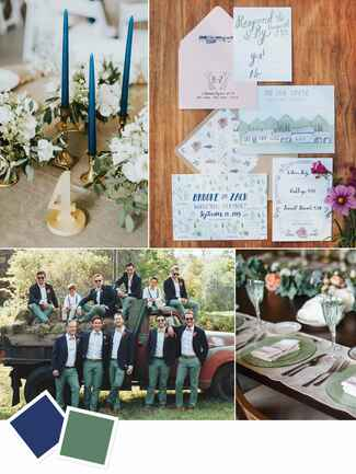 Summer wedding color inspiration with sage and navy