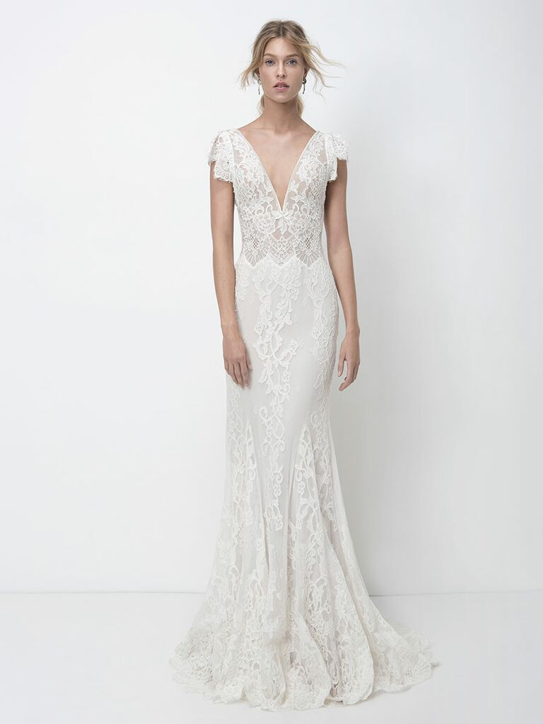 Lihi Hod Fall 2018 wedding dresses lace gown with plunging neckline and flutter sleeves